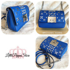 NWT MICHAEL KORS LEATHER STUD PERFORATED TINA SMALL CLUTCH CROSSBODY BAG IN BLUE