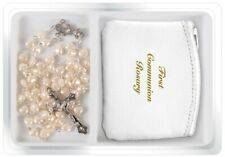 Girl's First Holy Communion Gift Plastic Pearlised Rosary & Leather Purse