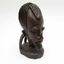 Vintage African Ebony Wood Man Head Sculpture Handmade Carved Africa Figurine