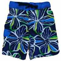 Boys Navy Tropical Hawaiian Swim Trunks Board Shorts
