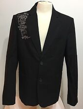 Guess Men 100% Authentic Brand Black With Embroidered 2 Botton Blazer Size Large