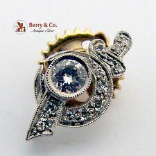 Masonic Sword Star Pin White Gold Diamonds