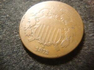 1872 Bold VG Solid Two Cents 2 Cents Piece Nice Flan AZX