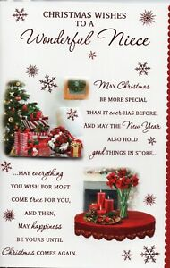 Niece Christmas Card Choice Of Traditional Designs Size 20 x 14cm