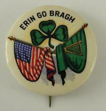 Vintage Pinback Button Irish ERIN GO BRAGH Shamrock Dual Flag St Patrick's Day