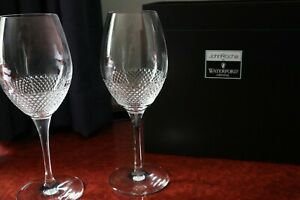 "A Pair of Waterford Crystal John Rocha Lume Wine Glasses + Presentation Box 9"""