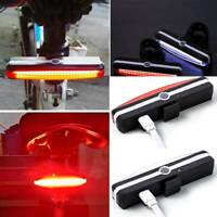 Red/White LED Light USB Rechargeable Safety COB Bike Cycling Riding Tail Lamp