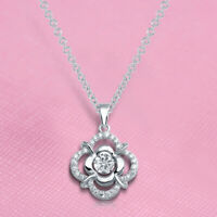 2.00 Ct Round Cut Dancing Diamond Flower Pendant Necklace 14k White Gold Finish