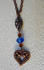 "COPPER TONE VALENTINE HEART & FLOWER BLUE & AMBER GLASS BEADS 18"" CHAIN NECKLACE"