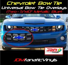 (2)5x10 Chevrolet Metallic Blue Bow Tie Emblem Overlays Decal Vehicle Wrap Chevy