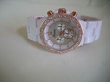 Fashion Designer White/Rose Gold Finish 3D Boyfriend Geneva light weight Watch