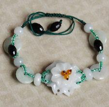Flower: jade in silk cord bracelet B2012