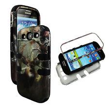 Hybrid Blk Camo Deer Conifer 3 in 1 Samsung Galaxy S3 , III ,  i9300 Cover Case