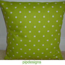 "NEW 14"" Cushion Cover White Polka Dots Bright Lime Green Spots Nursery Dot"