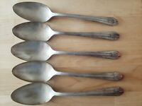 "5 ANTIQUE VINTAGE COLLECTIBLE SPOONS .7-3/8"", WM ROGERS SECTIONAL SILVER PLATE"