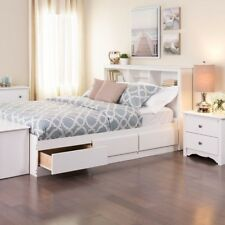 Prepac Monterey Collection Bedroom Solution White Full Wood Bed with 6-Drawers