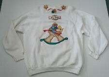 vintage hand made painted applique  tacky ugly cute Christmas sweat shirt bear
