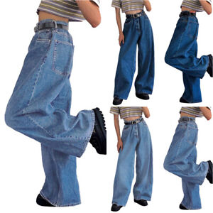 Womens High Waisted Denim Jeans Pants Wide Leg Flared Bell-Bottom Baggy Trousers