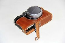Brown Leather Camera half Case Grip bag for Fujifilm X100F Bottom-opening New