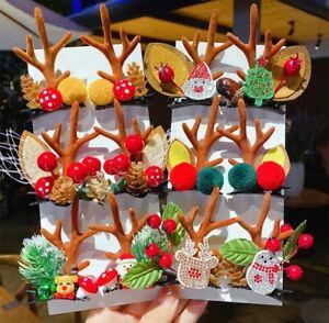 Women Girls Cartoon Christmas Antlers Hairpins New Year Sweet Hair Decorate Barr