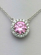 .925 Sterling Silver Pink Topaz CZ Halo Pendant Necklace - October Birthstone