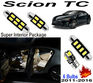 6 Bulbs Xenon Super Bright White LED Interior Light Kit For Scion TC 2011-2016