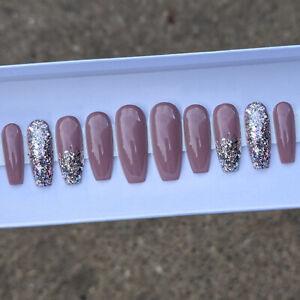 Custom Press on nails Glitter Gradient Coffin/Ballerina/Stiletto Gel Nails
