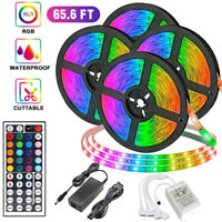 65.6FT 20M Flexible 5050 RGB LED SMD Strip Light   TV Party Bar Waterproof IP65