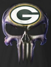(2) Green Bay Packers Punisher Skull Vinyl Stickers 5x3.8 Car Window Decal Logo