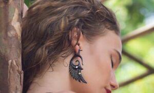 Carved Horn Earrings Dangle Tribal Fake Gauge Post Buffalo Exotic Shell Handmade
