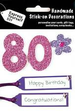 Pink 80th Birthday DIY Greeting Card Toppers Personalise Handmade Cards Yourself