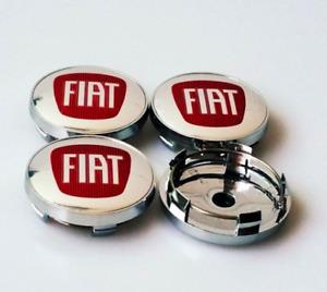 4pcs/Set 60mm FIAT Silver Red Alloy Logo Emblem Badge Wheel Hub Center Rim Caps
