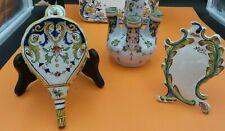 LOT 3 pièces CERAMIQUE Vintage décor motifs de BRETAGNE , Soliflore,Porte-menu .