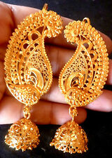 22K Gold Plated Indian Full Ear Earrings With Jhumka Gorgeous Bridal Set b