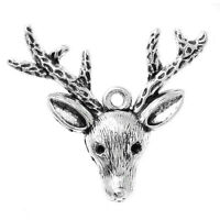 10  SILVER CHRISTMAS REINDEER/STAGS HEAD CHARM~37x31mm~Can fit rhinestones (21H)