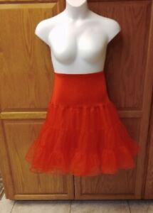 Sexy Red 50's Tutu Fluffy Crinoline Taffeta Sissy Petticoat Slip NWOT WOW!