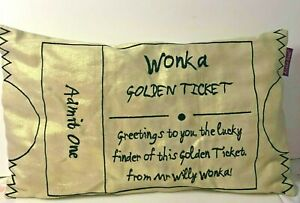Ronald Dahl Golden ticket cushion Willy Wonka Charlie & Chocolate Factory (L5