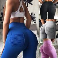 Women's Yoga Pants Scrunch PUSH UP Leggings Pockets Booty Gym Sport Trousers TH