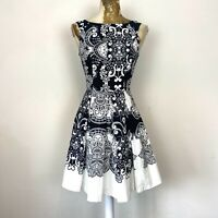 Red Herring Dress 8 Black White Aline Fit Flare Pattern Monochrome Occasion