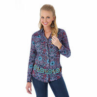 WRANGLER Rock 47 Purple Blue Paisley Women's Rhinestone Snap Shirt LJ5241M NWT