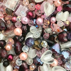 Mixed Glass Bead Packs - 2 Sizes Available - Pink, Burgandy, Purple And Clear
