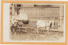 Real Photo Postcard RPPC - Three Boys in Goat Wagon