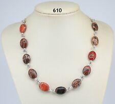 "Autumn blood jasper multi-colour stone bead necklace, Tibetan silver, chain 19"""