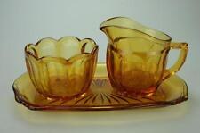 Trio Amber Depression Glass Sugar Bowl, Creamer and Tray VG32