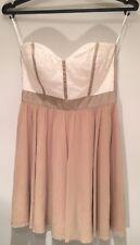 Pretty Asos White & Beige Strapless Party Short Dress Size 10 EU 38