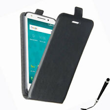 Black Leather Flip Card wallet Case Cover for Optus X Spirit + Stylus