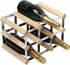 9 BOTTLE TRADITIONAL WOODEN WINE RACK NATURAL GALVANIZED STEEL FRAME