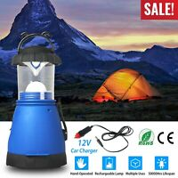 New Emergency Hand Crank LED Lantern Light Lamp Spotlight w/Car Charger Outdoor