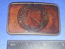 Vintage Horse Head Stamped Leather/Metal Belt Buckle