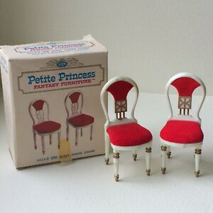 Vintage PETITE PRINCESS Fantasy Furniture 2 Red Guest Dining Chairs 4414-9